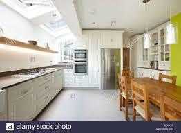 Extension Kitchen Kitchen Side Extension London Terrace Oak Table Skylights Velux