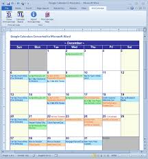 Calendar From Excel Data Convert Google Calendar To Excel And Word Format