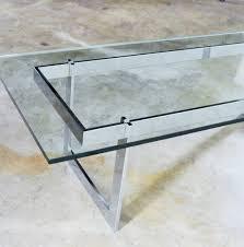 vintage mid century modern milo baughman style chrome glass coffee table