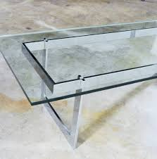 vintage mid century modern milo baughman style chrome glass coffee table