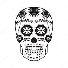 мексиканские череп татуировки в черном на белом фоне векторное