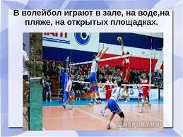 Презентация по физкультуре на тему quot История развития игры  В волейбол играют в зале на воде на пляже на открытых площадках