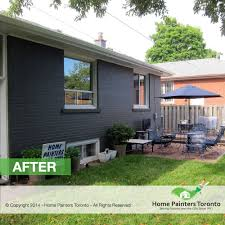 Painted brick exterior Brick Ranch Home Painters Toronto Toronto Brick Painting Contractor Brick House Painter Toronto