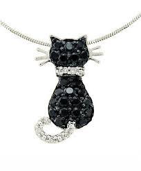 14k white gold diamond cat pendant