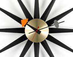 george nelson sunburst clock black brass