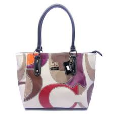 Coach Big Logo Medium Navy White Satchels DXY Clearance Outlet Sale