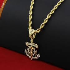 mens 14k gold plated hip hop anchor pendant 30 rope chain necklace d664