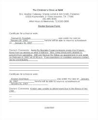 Excuse From Work Doctors Note Sick Note Template For Work Doctors Sick Note For School Sick Note