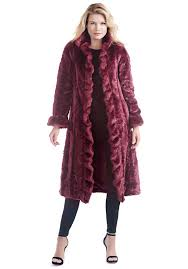 burdy ruffled broadtail full length faux fur coat 1