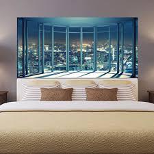 2 Teilesatz 3d Fensterbank Stadt Nacht Ansicht Nacht Wand Aufkleber