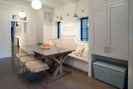 breakfast banquette furniture. Metallic Dining Banquette With Zinc And Wood Trestle Table Breakfast Furniture