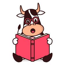 cow reading book cartoon transpa png