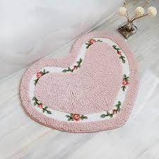 ukeler bath rugs pink fl rose heart shape bath mat nonslip soft comfy rug for bathtub bedroom decor for girls 19 6 x 23 6