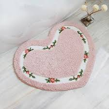 ukeler bath rugs pink fl rose heart shape bath mat nonslip soft comfy rug for bathtub bedroom decor for girls 19 6 x 23 6