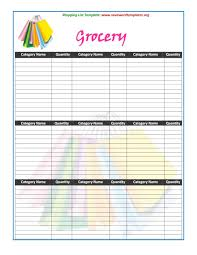 Template For Shopping List 40 Printable Grocery List Templates Shopping List