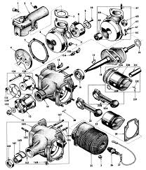 Exploded diagram of the o 45 1 from the oq 14 manual showing the roller bearings supporting the crankshaft as well as both ends of the connecting rods