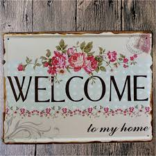welcome home metal shabby chic vintage sign home wall decor on metal wall art shabby chic with welcome home metal shabby chic vintage sign home wall decor shabby