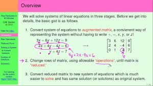 how to use matrices to solve systems of linear equations intro part 1 of 5