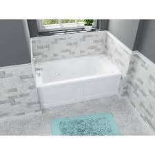 acrylic rectangular alcove whirlpool bathtub in white