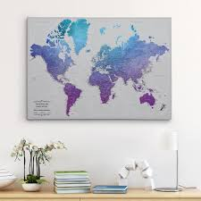 Framed And Personalized World Travel Maps With Pins Push Pin Maps