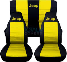 jeep wrangler black and yellow jeep logo seat covers