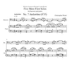 bassoon sheet music weait five more first solos for bassoon and piano pdf weait music