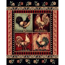 Rooster Area Rugs Kitchen Black Rooster Area Rug 5x7 Free Shipping Today Overstock