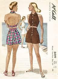 Crop Top Sewing Pattern Fascinating 48s Crop Top Halter High Waist Shorts Vintage Beachwear Sewing