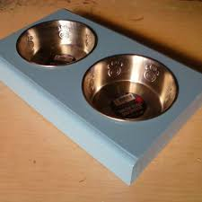 handmade pet bowl holder with 2 nice stainless steal bowl pet decor dog bowl  holder /