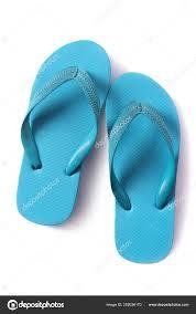 Light Blue Flip Flops Flipflop Sandals Light Blue Isolated White Background