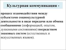 Лекция Предмет и задачи дисциплины Межкультурная коммуникация   Культурная коммуникация Межкультурная