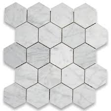 12 25 x10 75 carrara white hexagon mosaic tile polished