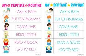 Free Printable Bedtime Chart Printable Morning Routine Charts Bedtime Routine Chart