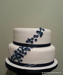 Two Tier Wedding Cake Elegant Two Tier Navy Blossom Wedding Cake