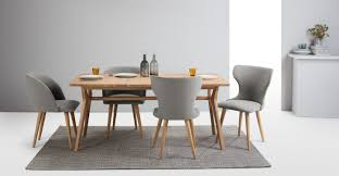 material dining chairs. a set of 2 dining chairs, in manhattan grey and oak material chairs