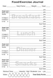 Food And Exercise Diary Weight Watchers Food Journal Template