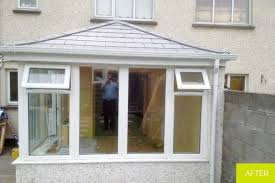 this old polycarbonate roof was removed and replaced with tegral roof slates and fakro roof lights the interior was finished in a pre finished pine