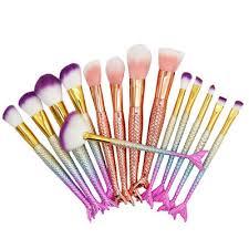10pcs pro mermaid makeup brushes foundation eyeshadow base powder blush professional brush cosmetic tools