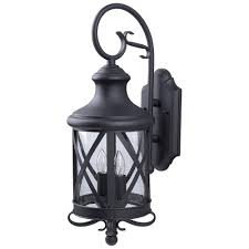 CANARM Mason Light Black Outdoor Wall Lantern With Seeded Glass - Black exterior light fixtures