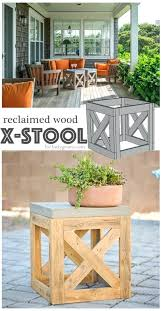 wood patio furniture plans. Patio Furniture Diy 6 Reclaimed Wooden X Stool And Side Table Outdoor Plans Wood