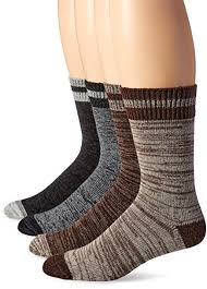 Wool Iq Mens 4 Pack Merino Wool Blend Stripe Marl Crew Socks