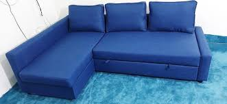 blue ikea friheten sofa bed with