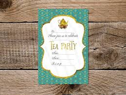 Invitation Downloads Adorable Tea Party Invitation Printable 488 X 48 Turquoise Gold Tea Party