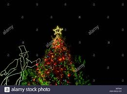 Old Fashioned Tree Lights Christmas Tree Lights Star At Night Figure In Old Fashioned