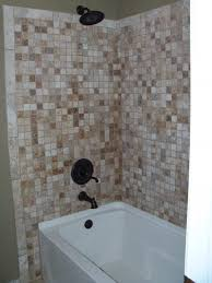 brown mosaic tile bathtub wall surround with steel rain of s