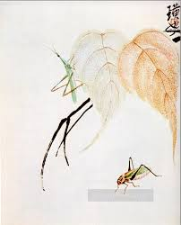 qi baishi praying mantis on a branch traditional chinese oil paintings