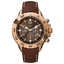 men nst leather chronograph watch
