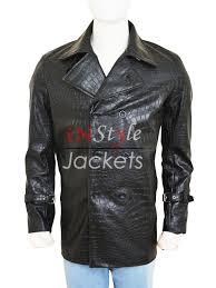 stylish alligator design leather jacket