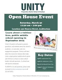 Open House Flyer For School At Unity Preparatory Sat On Images Of