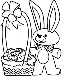 Easter Bunny With Flower And Egg Easy Easter Coloring Pages ...